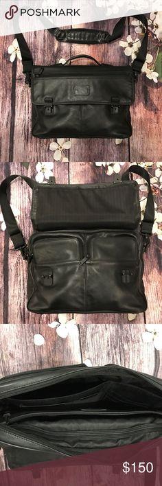 "Black leather slim brief case by Tumi Black leather slim brief case by Tumi, fit 15"" laptop Tumi Bags Briefcases"