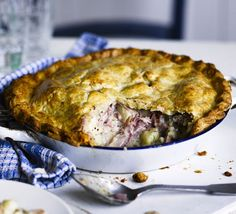 Slow-cooked tender ham, potatoes and shallots are enclosed in cheesy cheddar pastry - invest in a pie plate or tin for a crisp base
