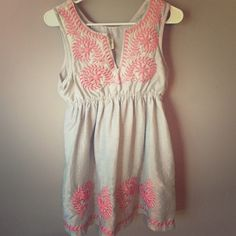 Gray and Pink Dress This dress is extremely cute as well as comfortable. The elastic waist makes it very flattering and the pink stitching is beautiful! NO trades please. Hello Miss Dresses Midi
