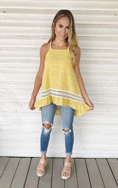 Cast Away-Mustard. Mustard tank with lace ruffled hem. Mustard tank. Ruffled hem tank. Summer tank.