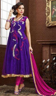 G3 Fashions Purple Magenta Georgette Wedding Wear Designer Salwar Suit  Product Code : G3-LSA104626 Price : INR RS 5878