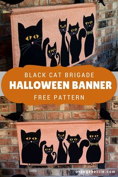 It's no secret that I'm kind of a crazy cat lady. Our family has 5 very spoiled black cats, so actually I'm crazy BLACK cat lady. Halloween is kind of a special holiday for us because. Halloween Sewing, Fall Sewing, Halloween Banner, Halloween Projects, Halloween Quilts, Halloween Ideas, Haunted Halloween, Easy Sewing Projects, Sewing Projects For Beginners