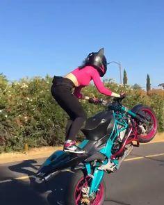 With her love of 2 wheels and wild adventure spirit, Robyn lives her best life performing stunts and wheelies on her Kawasaki Ninja Ducati Monster, and more. Dirt Bike Girl, Bicycle Girl, Ducati Monster, Womens Motorcycle Helmets, Motorcycle Pants, Motorcycle Camping, Motorcycle Clubs, Camping Gear, Dirt Bike Wheelie