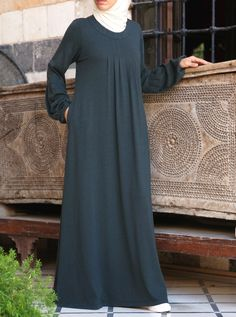 Our popular Pleated Abaya is now available in a soft cotton and rayon jersey. Contemporarily styled thoughtfully cut and beautifully pleated its the easiest simplest and most comfortable way to look good modestly. Islamic Fashion, Muslim Fashion, Modest Fashion, Fashion Dresses, Abaya Designs, Royal Dresses, Women's Dresses, Hijab Style Dress, Abaya Style