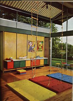 Colorful playroom. #playeverydayleslie,you and terry could make this room for winter play in your new home,i love this