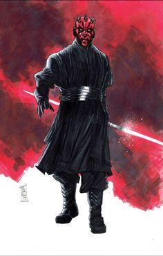 Darth Maul, in Tom Hodges's Random Pieces and Sketches Comic Art Gallery Room Dark Maul, Star Wars Darth, Star Wars Rebels, Darth Vader, Jedi Sith, Sith Lord, Star Wars Wallpaper, Batman Vs Superman, The Best Films