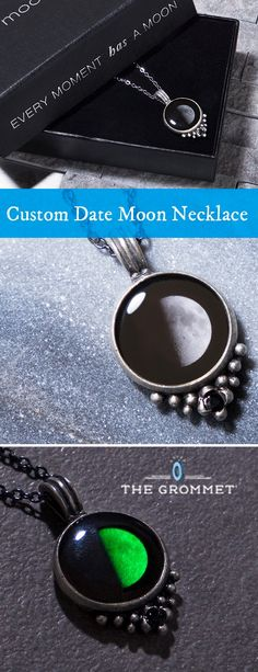 Moon phase necklaces made in Canada. Keep the moon phase from any important day close to your heart. These pewter necklaces feature a subtly luminescent design dotted by a single crystal.