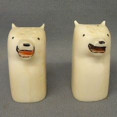 Pair of antique carved ivory polar bear salt and pepper shakers, Probably Inuit Monday Monday, Salt Shakers, Inuit Art, Native Art, Antiquities, Oriental Rug, Vintage Kitchen, Clutter, Polar Bear