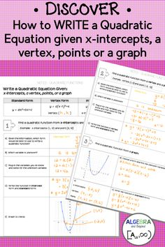 Students are so use to being given a quadratic equation and then doing something with it (factoring, solving, graphing, etc.) BUT, what if they are only given a few details about the parabola, but not the equation. Can they figure out the equation themselves? Find out by using this lesson for individual or a partner discovery!