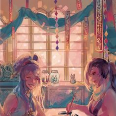 "geminid: "" I had the great honor of participating in this Fates Zine! Here is a preview of my piece!! I really enjoy kagerou and orochi's relationship so I wanted to depict a calm scene of them just hanging out, kagerou painting and orochi sharing..."