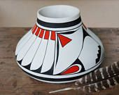 Large White Polychrome Olla by R Galvan, Mexican Pueblo Pottery Mata Ortiz Casas Grandes, Native American Mimbres Feathers Folk Art Pot