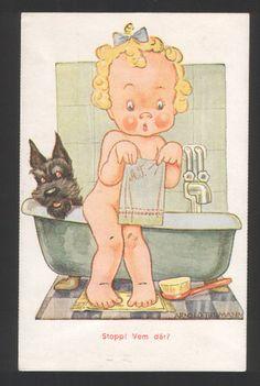 119262 Girl Scottish Terrier Bath by Tilgmann Vintage PC | eBay