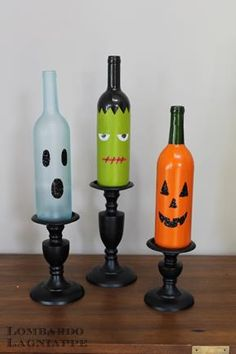 Halloween Decorations... Good use for leftover wine bottles.