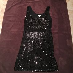 black sequined dress black short loose sequined dress Dresses