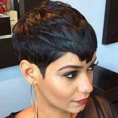 Attractive Pixie Haircuts for Beautiful Women. Pixie haircuts are effortlessly chic, daring, cool and modern. Any woman can adopt a pixie haircut as long Short Black Hairstyles, Pixie Hairstyles, Short Hair Cuts, Pixie Haircuts, Short Pixie Wigs, Female Hairstyles, American Hairstyles, Braided Hairstyles, Remy Human Hair