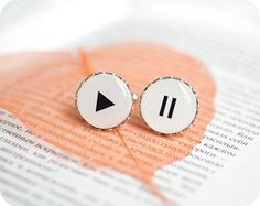 Play and Pause cufflinks - musical gift - Free shipping etsy, Valentines day - rusteam, oht from Etsy Shop SecretFind ($19.50)