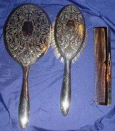 Antique Vtg Birks Regency Silver Plate Vanity Set Brush Comb Mirror & Vintage Victorian Silver Plated 3 piece Vanity Set   Vintage ...