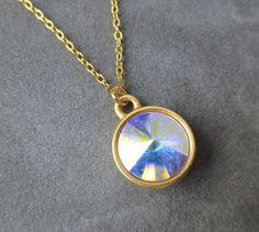 Gold Opal Necklace, October Birthstone Jewelry, Swarovski Crystal Pendant, Modern, Opal Jewelry, Birthstone Necklace $24