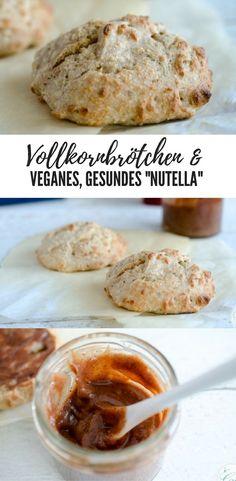 zuckerfreies und veganes Rezept für gesunde Nutella für kleine Kinder und für saftige Vollkornbrötchen. Gelingt beides leicht und schmeckt vorzüglich. Perfektes Frühstück für die Familie!