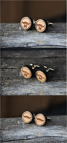 Personalized Rustic Wooden Mustache Cufflinks by mini-Fab. Personalized wooden mustache cufflinks personalized with your favorite initial. Cufflinks that any man can be proud to wear. Perfect for movember. No handlebar required to sport these. | Made on Hatch.co