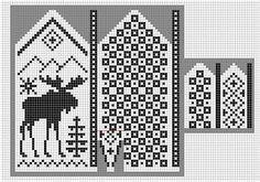 Norwegian pattern: Mittens moose knit chart More