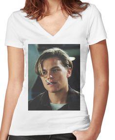 62b12de4c31 Leonardo DiCaprio Women s Fitted V-Neck T-Shirt