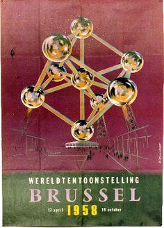 Dhooge  - Wereldtentoonstelling Brussel - 1958 world expo vintage poster featuring Atomium