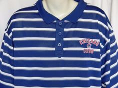 Chicago Cubs MLB 2XLarge Striped Blue White Red Mens Shirt #TrueFan #PoloRugby