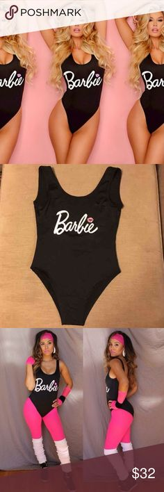 Barbie Bodysuit/One Piece Size M. Never worn. Can be worn as swimsuit, Bodysuit, or super cute Barbie Workout costume! Stretchy nylon material Swim One Pieces