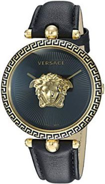 Enjoy exclusive for Versace Women's Palazzo Empire Yellow Gold Swiss-Quartz Watch Leather Calfskin Strap, Black, 16 (Model: online - Topfashiongoods Casual Watches, Cool Watches, Watches For Men, Ladies Watches, Palazzo, Seiko Diver, Nato Strap, Expensive Watches, Black Models