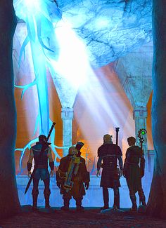 Carver, Varric, Anders, Hawke... this was my actual party running through the deep roads ❤