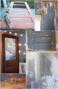 "Door from the dump gets stained, painted using Vaseline technique, and an ""antiqued"" mirror (tutorials included)"