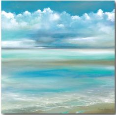 Ocean Beach Art Canvas.... http://www.beachblissdesigns.com/2017/01/blue-sky-and-ocean-beach-art-canvas.html