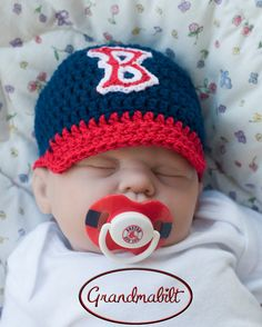 BOSTON RED SOX Logo Pacifier   Baby Crocheted by Grandmabilt e0c5cc92070
