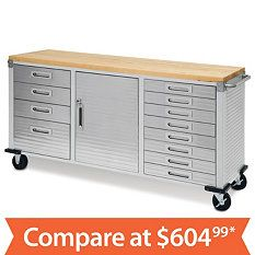 Stainless tool box with butcher block top, by Whalen, $500 ...