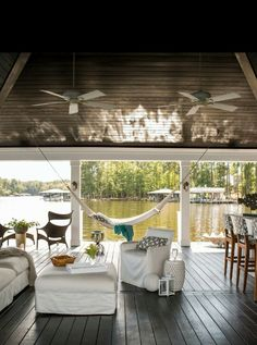 HGTV: This waterfront retreat by Heather Garrett Interior Design features plenty of patios and spaces that make the most of living on beautiful Lake Gaston. Design Loft, House Design, Lake Dock, Boat Dock, Lakeside Living, Lake Cottage Living, Lake Cabins, Waterfront Homes, Interior Exterior