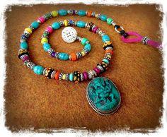 Turquoise GANESHA necklace short beaded Indian necklace by GPyoga, $72.00