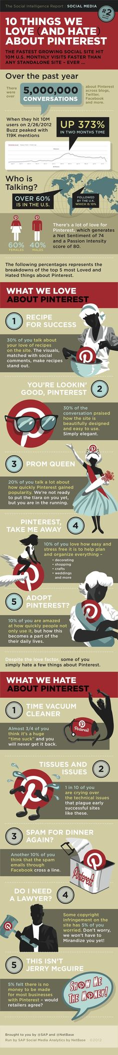 Another great inforgraphic - 10 things people love and hate about Pinterest