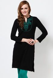 Fabulously designed, this black coloured kurta will leave no chance to fetch you appreciation for your exclusive choice. Featuring attractive embroidery on the front, this kurta will surely make you look appealing.
