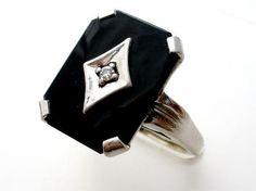 Antique 14k White Gold Ring Diamond Black Onyx Art Deco Size 6 Estate 4 4 Grams | eBay