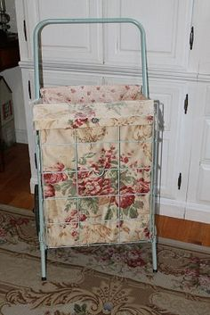 Fabric is very soft, with roses and a tan background. Fabric has been prewashed. Cart not included. Fabric Crafts, Sewing Crafts, Sewing Projects, Rolling Utility Cart, Shopping Carts, Wire Baskets, Plushies, Amelia, Laundry