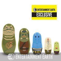 Six aliens, five dolls, one awesome set! Max Rebo and Jabba the Hutt are joined by their most famous cohorts in this awesome collection of plastic nesting dolls! These characters make their nesting doll debut in an Entertainment Earth Exclusive!  Each set includes five plastic nesting dolls representing some of the most vile and musical characters in the Hutt entourage – including the boss man himself and his original band.