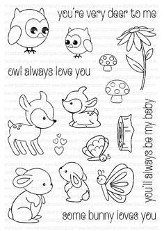Clearly Besotted WOODLAND KISSES Clear Stamp Set zoom image