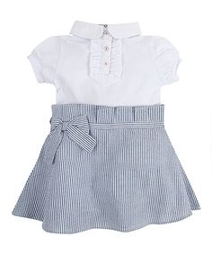 Look at this White & Blue Stripe Collar Dress//
