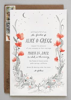 The detail put into this vine illustration makes it look like an actual piece of art. | The 25 Most Beautifully Illustrated Wedding Invites