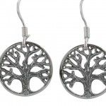Sterling Silver 15mm Round Tree Of Life Drop Earrings