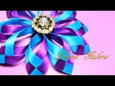 🌺 Kanzashi flowers from a narrow ribbon. Ribbon Art, Diy Ribbon, Ribbon Crafts, Flower Crafts, Ribbon Bows, Ribbons, Kanzashi Tutorial, Flower Tutorial, Flower Hair Bows