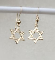 Star of David earrings, Jewish Earrings, Judaica Jewelry, Gold Jewish Star Earrings, Bat Mitzvah Jew Star Jewelry, Unique Jewelry, Silver Jewelry, Jewelry Rings, Jewelery, Star Earrings, Dangle Earrings, Silver Earrings, Jewish Jewelry