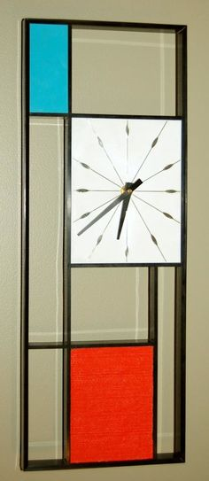 1960s Piet Mondrian inspired Wall Clock by Sunbeam