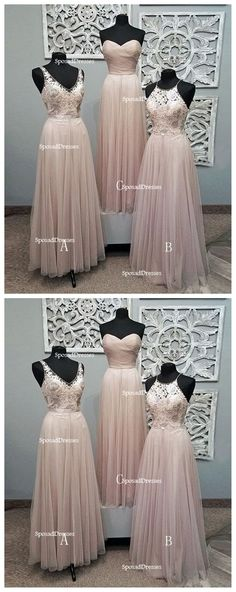 Mismatched Pale Blush Pink Lace Custom Bridesmaid Dresses, Cheap Unique Tulle Long Bridesmaid Gown, · Oktypes · Online Store Powered by Storenvy Unique Bridesmaid Dresses, Lace Bridesmaid Dresses, Wedding Dresses, Wedding Attire, Cheap Long Dresses, Dresser, Dress Vestidos, Perfect Wedding Dress, Dream Wedding